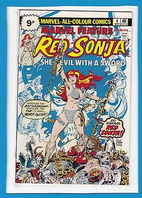 "Marvel Feature #4_May 1976_Vf/nm_Red Sonja_""eyes Of The Gorgon""_Bronze Age_Uk!"