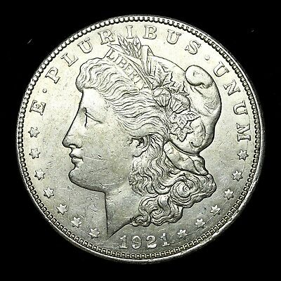 1921 D ~**ABOUT UNCIRCULATED AU**~ Silver Morgan Dollar Rare US Old Coin! #K51