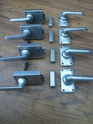 4 PAIRS OF VINTAGE 1950's / 60's STEEL DOOR HANDLES RECLAIMED HOUSE SALVAGE