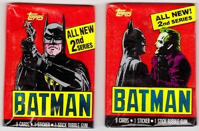 BATMAN SERIES 2 (Topps, 1989 Movie)--Lot of 2 Unopened Wax Packs / Both Wraps^