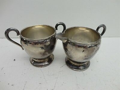 Pair of Vintage Empire Weighted Sterling Silver Creamer & Sugar Bowl