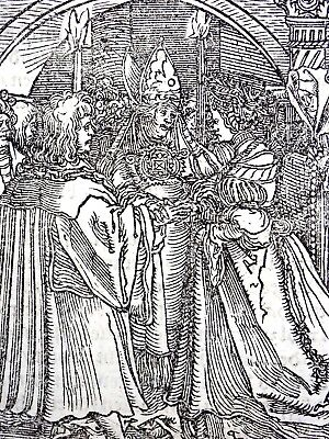 1532 Master of Petrach - Hans Weiditz woodcut leaf - the Marriage Ceremony