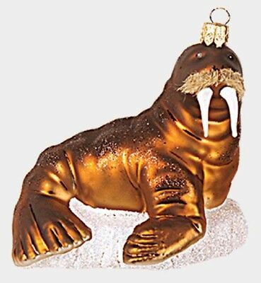 Walrus on Patch of Ice Polish Glass Christmas Tree Ornament Animal Decoration