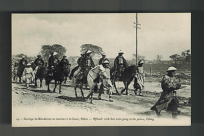 Mint China BW picture Postcard Government Official Caravan Going to Peking