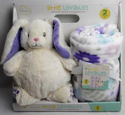 "Little Miracles Lovables Bunny Rabbit & Blanket 30""x40"" Baby Gift Set White 6+Mo"