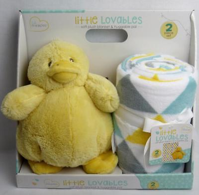 "Little Miracles Lovables Duck Plush & Baby Blanket 30""x40"" Baby Gift Set 6+ Mos"