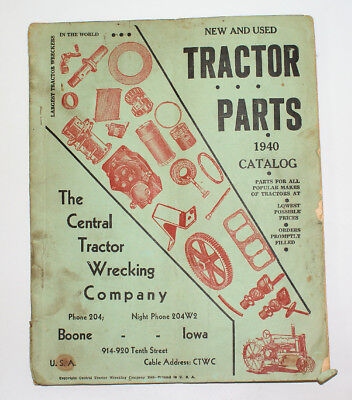 ULTRA RARE Vintage 1940 Central Tractor Wrecking Co., TRACTOR PARTS CATALOG