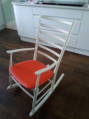 Mid Century Vintage Ladder Back Rocking Chair White Wood with Orange Vinyl Seat