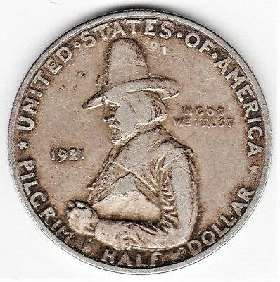 Tough Dated 1921 PILGRIM TERCENTENARY Commemorative SILVER HALF DOLLAR BARGAIN!