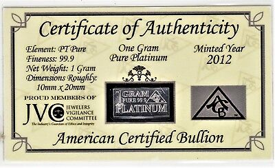 JVC/ACB ONE GRAM Pure Platinum Ingot Bar ORIGINAL ASSAYER'S CAPSULE (2012)