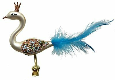 Cream Swan Bird Blue Feather Tail Czech Glass Christmas Tree Clip On Ornament