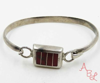 """Sterling Silver 925 Inlay Front Latch Red Onyx Bracelet 7"""" (23.1g) - 720370"""