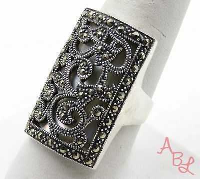 Sterling Silver 925 Long Knuckle Marcasite & MOP Ring Sz 10 (8.8g) - 720289