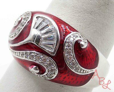 Sterling Silver 925 Dome Cocktail Red & White Stone Ring Sz 10 (7.9g) - 720282