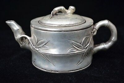 chinese Collectible Chinese Old tibet silver bamboo handwork Teapot