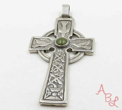 Sterling Silver 925 Large Dove Celtic Cross Green Turquoise Pendant (30g) 720089
