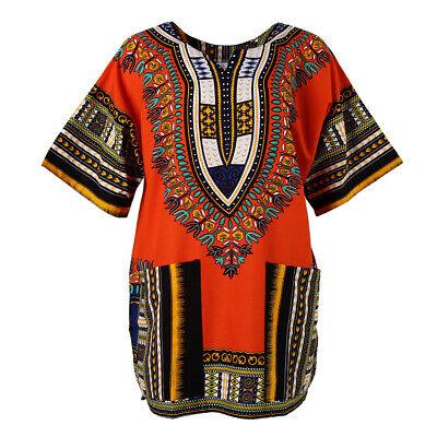 Unisex African Print Dress Cotton Dashiki Shirt Caftan Thai Clothing Hippie
