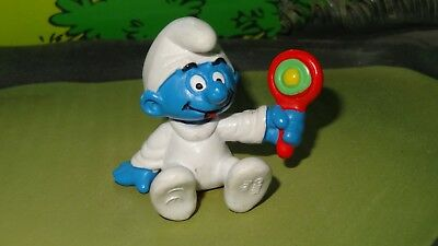 Smurfs Baby with Rattle Smurf 2004 Rare Vintage Figurine Germany