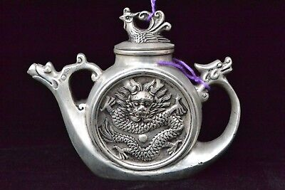 chinese Collectible Old tibet silver dragon phoenix handwork antique Teapot