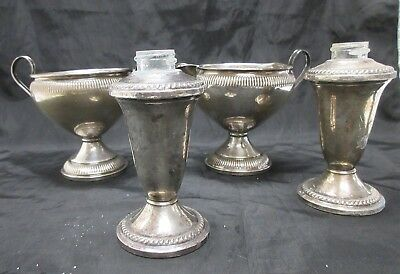 Mixed Lot Of Weighted Sterling Silver Cream + Sugar Bowl ++ Lot Of (4)