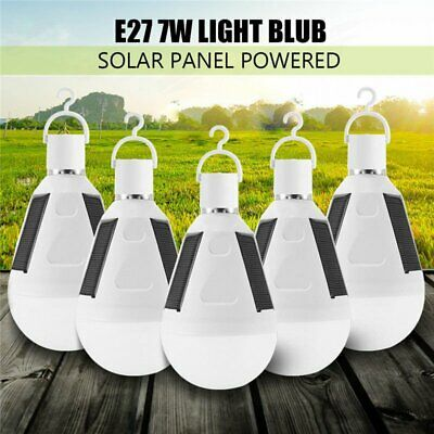 5X 7W Solar Panel Powered LED Bulb Light Portable Emergency Camping Hiking Lamps