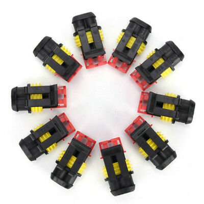 5pcs 2Pin Auto Car Waterproof Electrical Connector Plug Wire AWG Marine Black FS