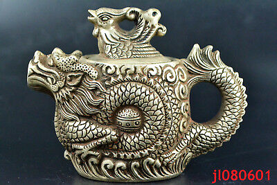 Chinese relief Collectible Old tibet silver dragon PHOENIX handwork big Teapot