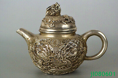 Collectible Old tibet Silver Statue dragon relief HANDWORK rare chinese Teapot