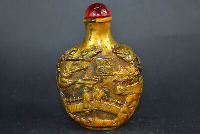 Chinese Culture Collectible old amber carve figure handwork relief Snuff Bottle
