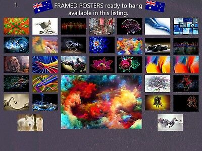 ABSTRACT POSTERS BLACK FRAMED - size 61x91cm - 24x36inch -choice of poster