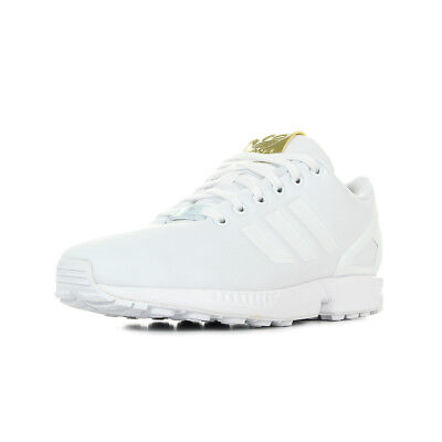 new concept f6bda 34455 Chaussures Baskets adidas femme Zx Flux W taille Blanc Blanche Textile  Lacets