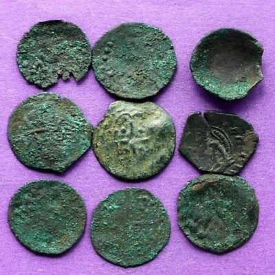 M1179 Lot of 9 late Byzantine(medieval) bronze coins 18-19mm  7.4g