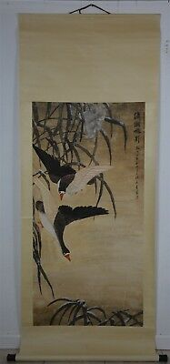 Elegant Large Chinese Painting Scroll Signed Master Wu Qingxia No Reserve J8996