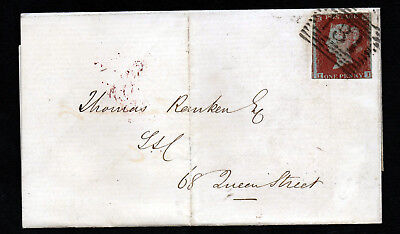 GB QV 1850 1d. Red Imperf. Plate 87 II SG 8 On Entire EDINBURGH LOCAL POST
