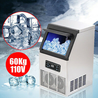 130Lbs/60Kg Auto Commercial Ice Cube Maker Machine Stainless Steel Bar 110V 230W