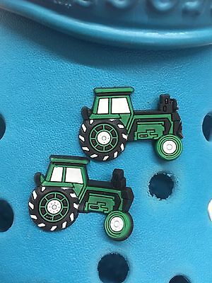 2 Green Tractor Shoe Charms For Crocs & Jibbitz Wristbands. Free UK P&P