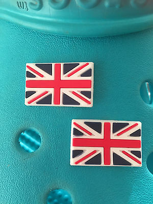 2 Union Jack Flag Shoe Charms For Crocs and Jibbitz Wristbands Free UK P&P