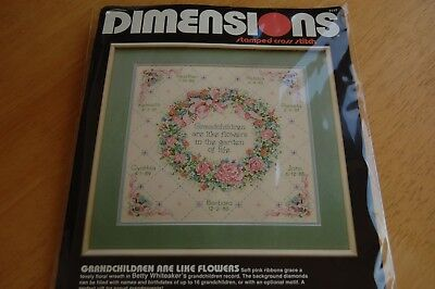 "Vintage Dimensions ""Grandchildren are Like Flowers"" Stamped Cross Stitch Kit"