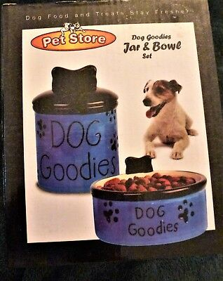 Ceramic Dog Water Bowl & Snack Jar Blue & Black New