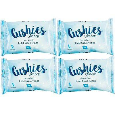 Multipack Cushies Classic Gentle Toilet Wipes Flushable Clean Tissues Soft