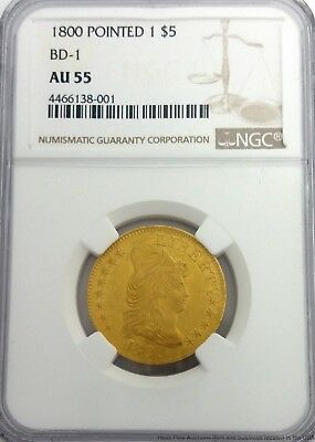 1800 $5 Draped Bust Half Eagle Five Dollar Gold Coin AU 55 NGC Pointed 1