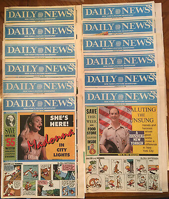 17 1990 Daily News Magazines w/ Dick Tracy Comic Strips & the color comics pages
