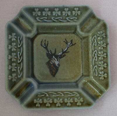 Wade Ireland Porcelain Ash Tray Pin Dish Ip611 Stag Deer Animal Green Blue