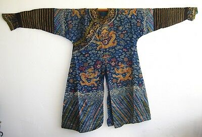 Chinese Imperial Embroidered Silk Dragon Jifu Formal Summer Robe Qing Dynasty