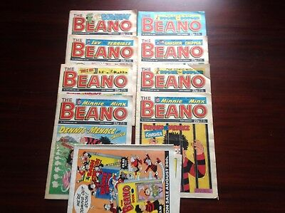Beano Comics Job Lot Of 8 All Dated 1989 + Original A1 Poster In Mint Condition.