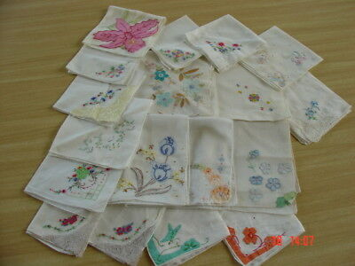 Lot of 17 Vtg Cotton Hankies ~ White Hankies Madeira Embroidery ~ Loverly Lot