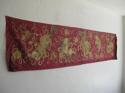 """Fine Old Antique Chinese Embroidered Gold & Silk Panel Tapestry Wall Hanging 80"""""""