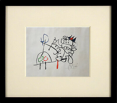 *Superb* Wonderful Mixed Media Drawing of a Comical Figure Signed - Miro