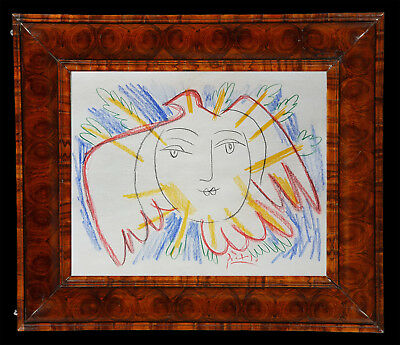 *Superb* Wonderful Coloured Graphite Drawing of a Sun / Dove Signed - Picasso