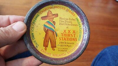 c1920s,30s, Triple XXX Root Beer Thirst Stations Adv Tip Tray,Drive In